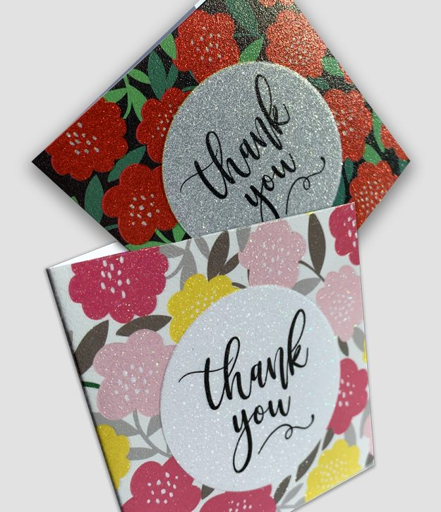 printable glitter thank you cards