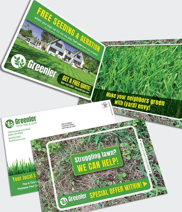 Fold N Go Reveal Card lawn care promotion
