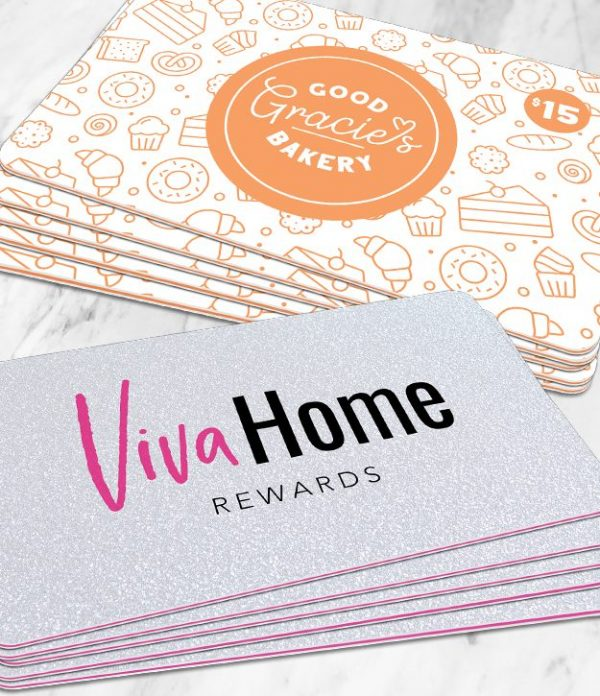 Rounded corner rewards card and gift card samples with various insert colors