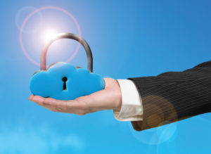 Cloud shape locker on hand with sunlight and blue sky