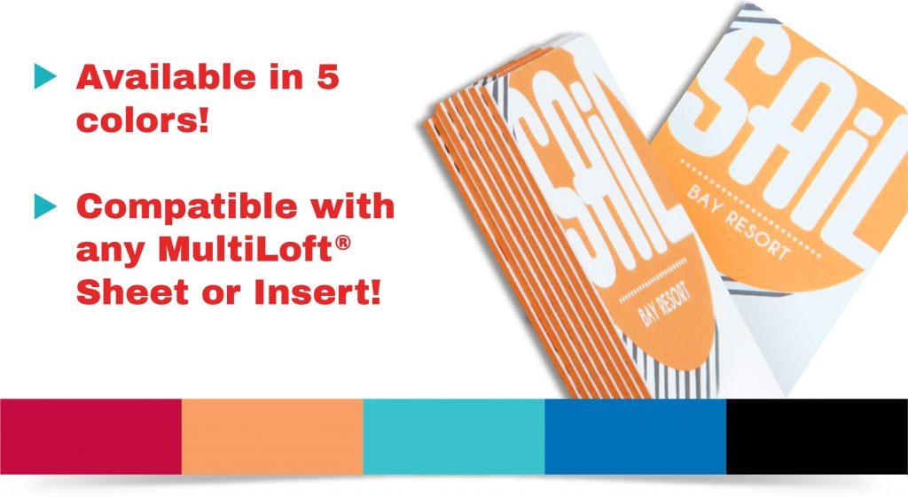 Resort-themed business cards featuring MultiLoft Encore orange fizz colored sheets. All 5 available MultiLoft Encore colors are shown.