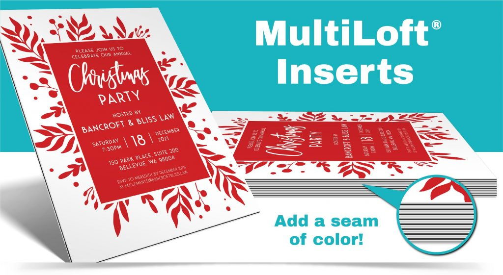 Red, black and white corporate Christmas party invitation featuring MultiLoft black colored inserts