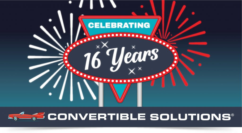 Retro sign graphic with fireworks celebrating the Convertible Solutions 16th anniversary