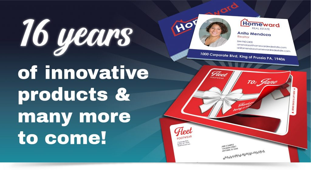 Image featuring digitally printed MultiLoft business cards and Fold 'N Go Reveal self-mailer