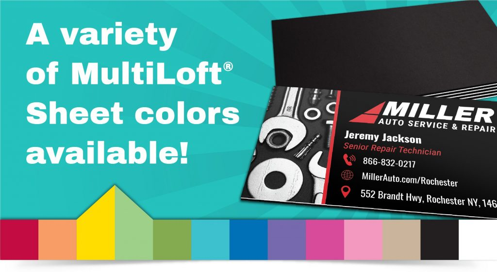 Automotive single sided business card design featuring MultiLoft black licorice sheets on the back. All available MultiLoft Sheet colors are shown along the bottom of the image.
