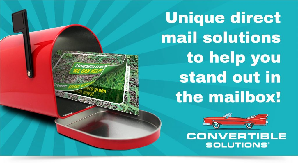 Graphic showing a red mailbox with a unique direct mail Fold N Go reveal mailer
