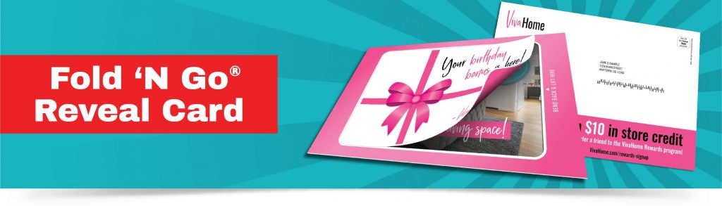 Graphic showing a Fold N Go Reveal Card, a unique direct mail piece with a peel away reveal panel