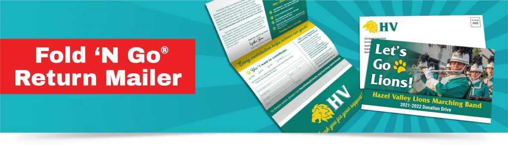 A Fold N Go Return Mailer all-in-one response mailer shown opened and closed. It features a high school marching band donation drive.