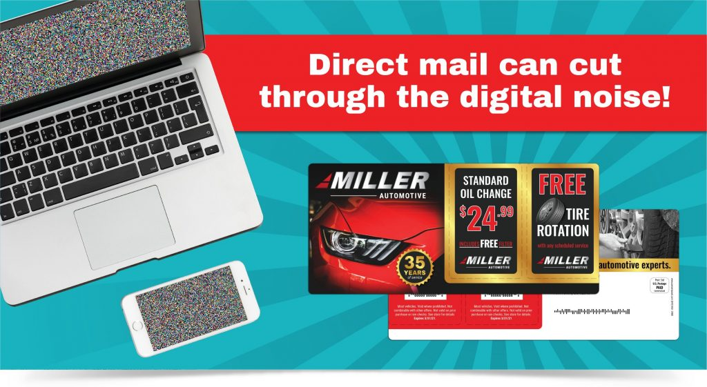 Automotive promotional mailer with two pop-out discount cards