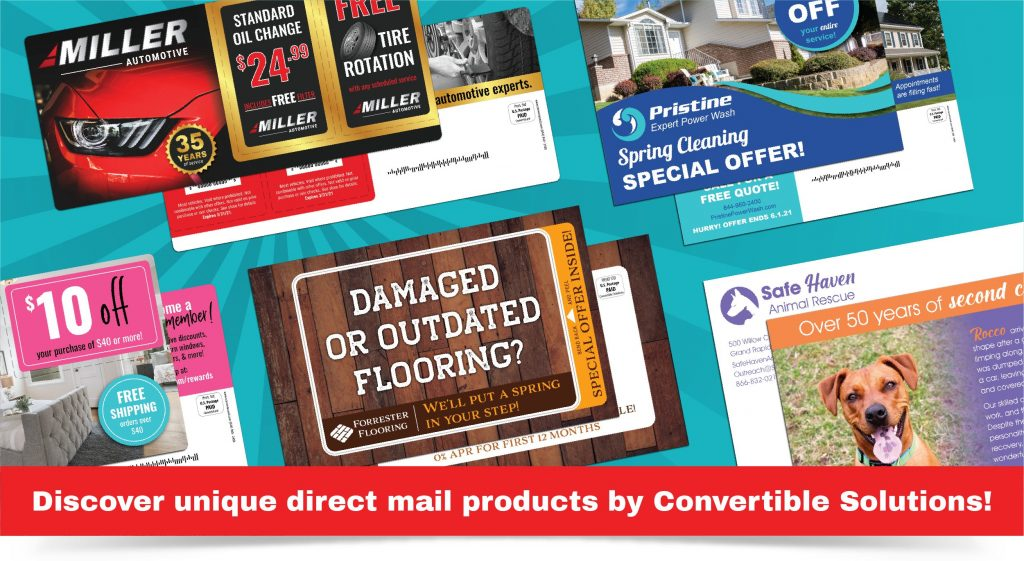 Unique direct mail products from Convertible Solutions, including ultra thick postcards, pop-out postcards, self-mailing return mailers, and interactive reveal cards