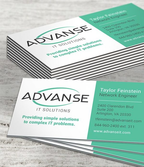 Business card samples with Black Licorice Inserts