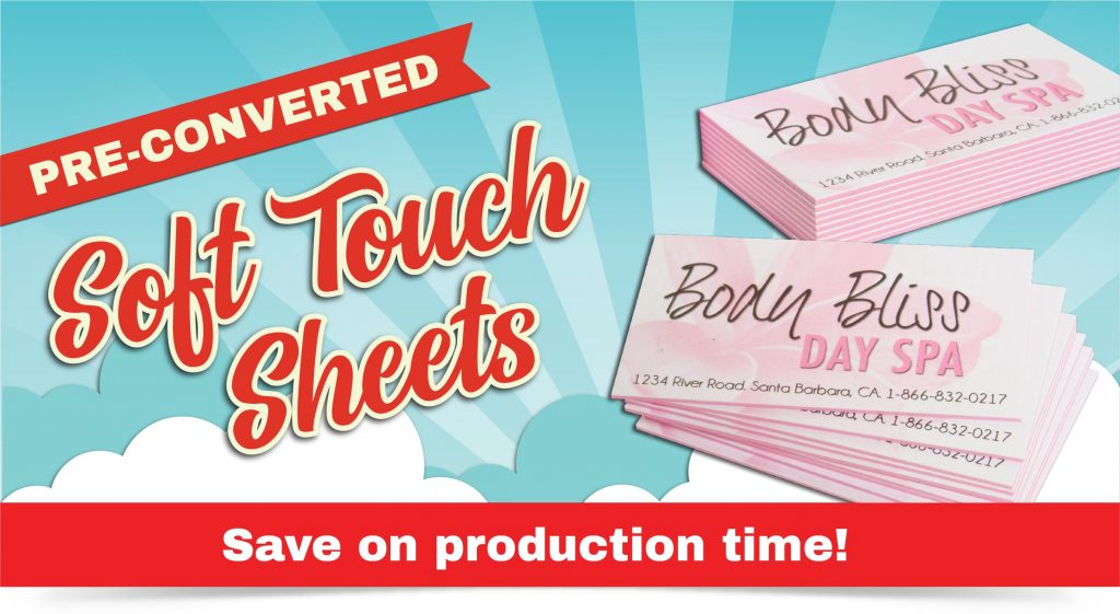 Spa business cards featuring Convertible Solutions pre-converted soft touch paper and MultiLoft cotton candy pink sheets