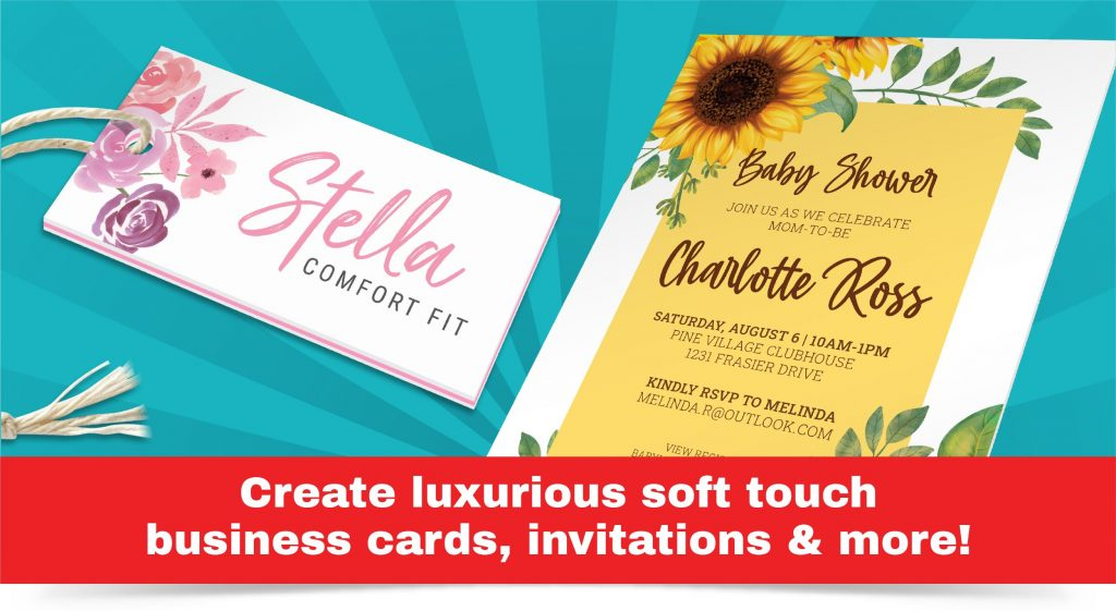 Retail product tag and baby shower invitation designs made with pre-converted soft touch paper